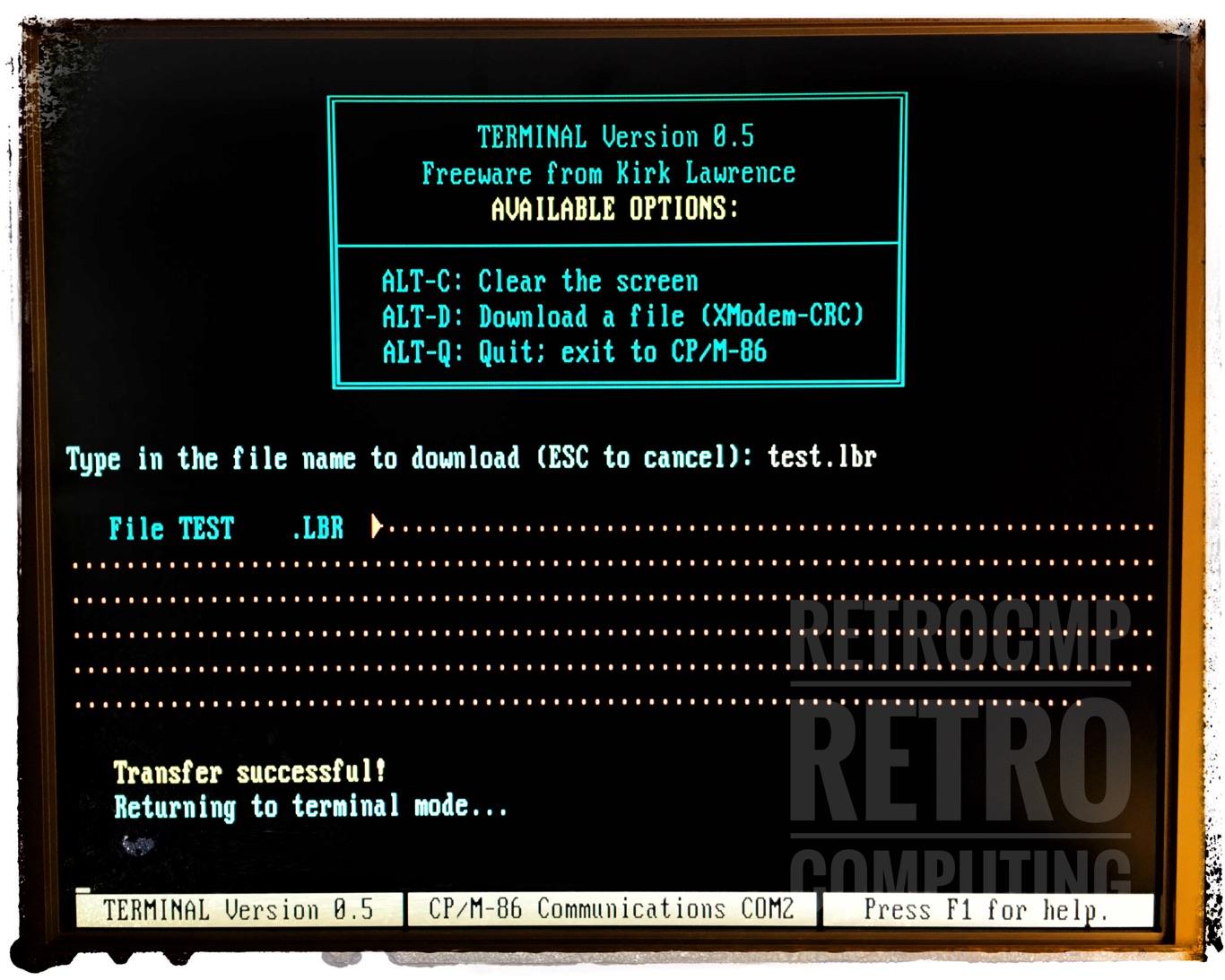 File transfer / CP/M-86 / TERMINAL // retrocmp / retro computing